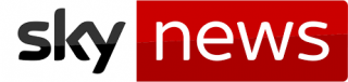 In black lowercase on white background: sky. In white lowercase on red background: news