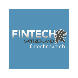 Blue background. In white: Fintech. In black: Switzerland. Underneath in white: fintechnews.ch